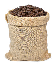 Roasted Coffee Beans In A Burlap Sack. Sackcloth Bag With Coffee Beans, Isolated On White Background. Coffee Export.