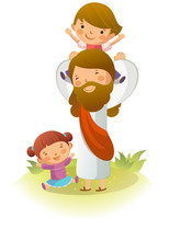 Jesus Christ Carrying A Boy On...