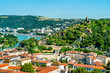 canvas print picture - Aerial view of Vienne with its castle. France