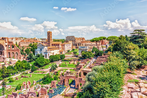 The Roman Forum, the Tower of the Militia and the Coliseum view Fototapeta