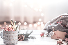 Christmas Festive Background With Gift For Santa