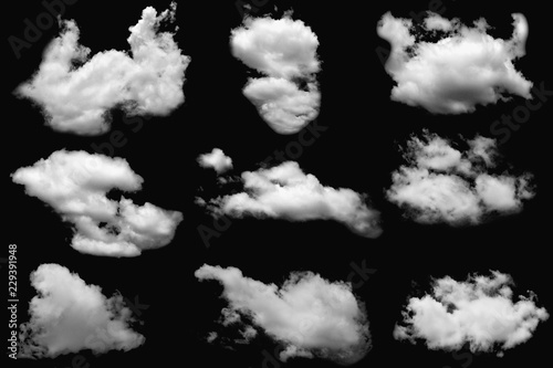 Aluminium Prints Heaven Set of clouds white fluffy on isolated elements black background.