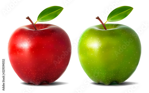 Fotografie, Obraz  Realistic apples isolated on white background