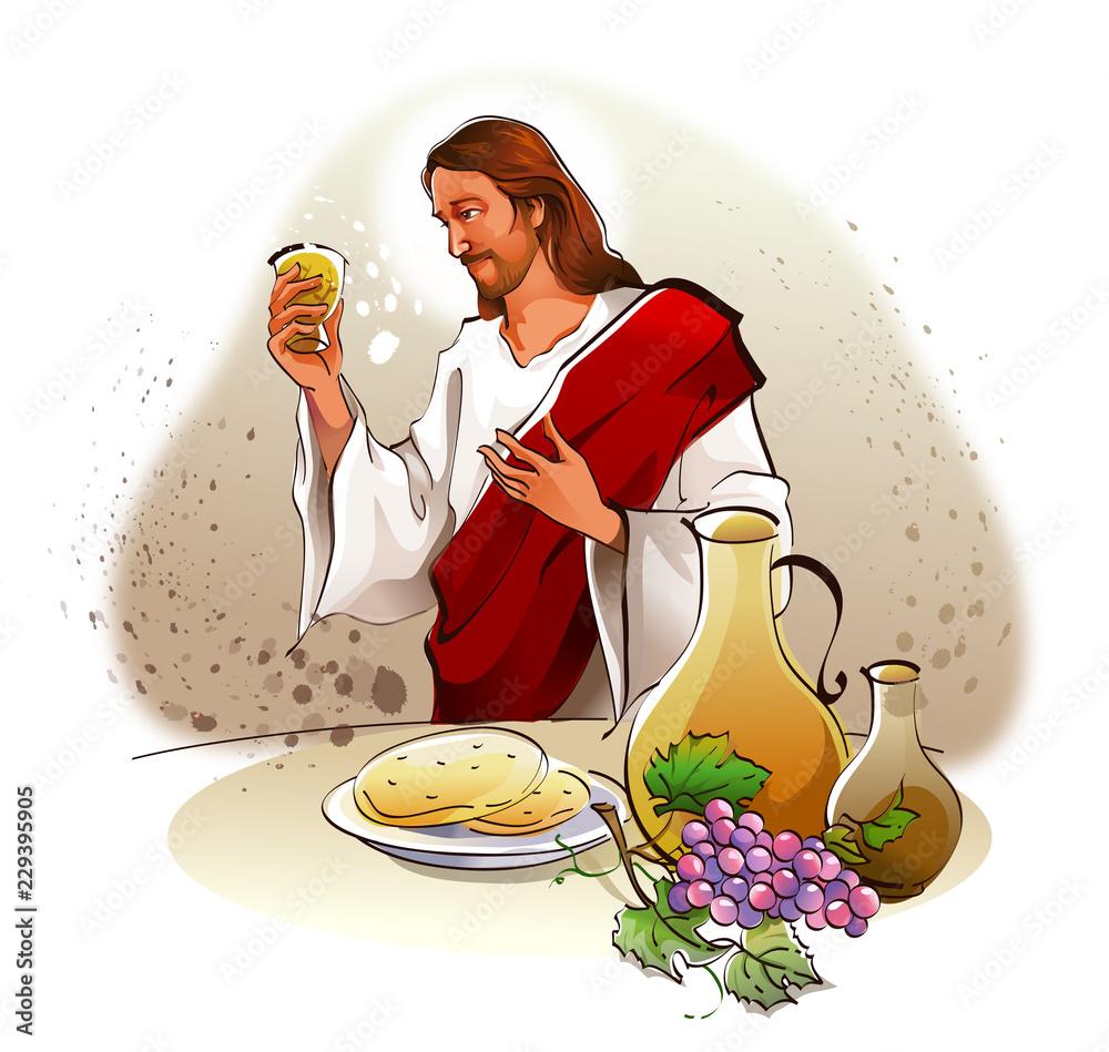 Fototapety, obrazy: Jesus Christ holding a glass of wine
