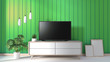 Leinwanddruck Bild - TV on cabinet in modern living room on green wall background,3d rendering