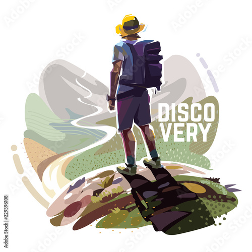 Fototapeta The hiker is standing on top of a mountain with a backpack. Illustration on the tourism topic. obraz