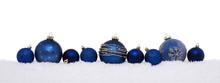 Blue Christmas Balls Isolated On Snow, Christmas Decoration