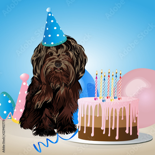 Happy Birthday Card With Funny Dog Cake Colorful Balloons Vector Illustration
