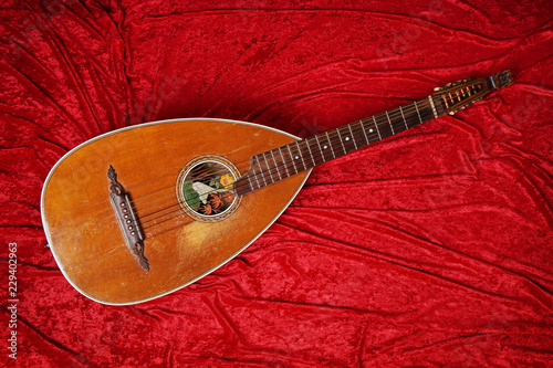 vintage lute string instrument on red velvet background Wallpaper Mural