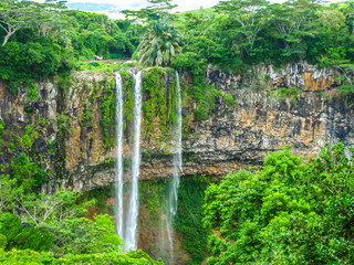 The Chamarel falls, 100 meters high, the most famous waterfalls in Mauritius at a short distance from the colored earth, Mauritius, Indian Ocean.