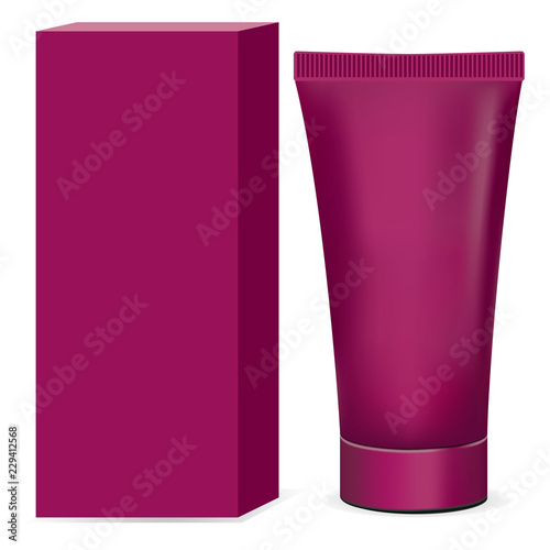 Fotografie, Obraz  Cosmetics Cream Tube with packaging blank mockup isolated on white background
