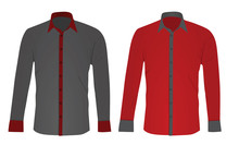 Grey And Red Long Sleeved Shir...