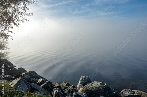 Foto  Soft ripples in misty landscape