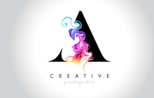 A Vibrant Creative Leter Logo Design With Colorful Smoke Ink Flowing Vector