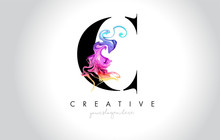 C Vibrant Creative Leter Logo Design With Colorful Smoke Ink Flowing Vector.