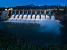 Seebe Hydroelectric Dam At Night
