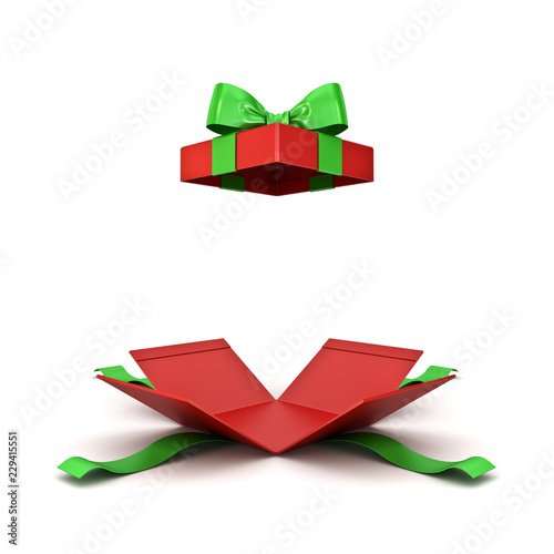 Open christmas gift box or red present box with green ribbon bow isolated on whi Canvas-taulu