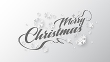 White Paper Cut Of Vector Snowflake On Gradient Colours Background With Merry Christmas Phase Text