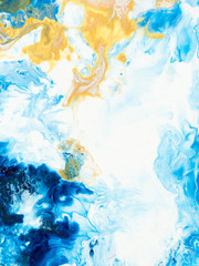Fototapeta Do pokoju Blue and gold creative abstract hand painted background, marble texture, abstract ocean