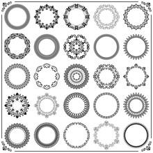 Vintage Set Of Vector Round Black And White Elements. Different Elements For Design Frames, Cards, Backgrounds. Classic Patterns. Set Of Vintage Patterns