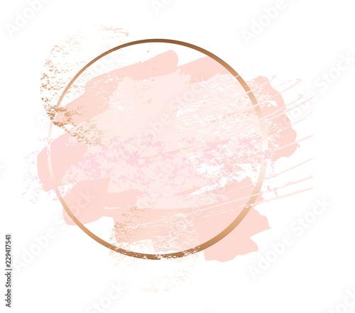 Fototapeta Golden Pink Nude Art Frames Modern Card Design Brush Stroke Lines Points Gold Premium Brochure Flyer Invitation Template Beauty