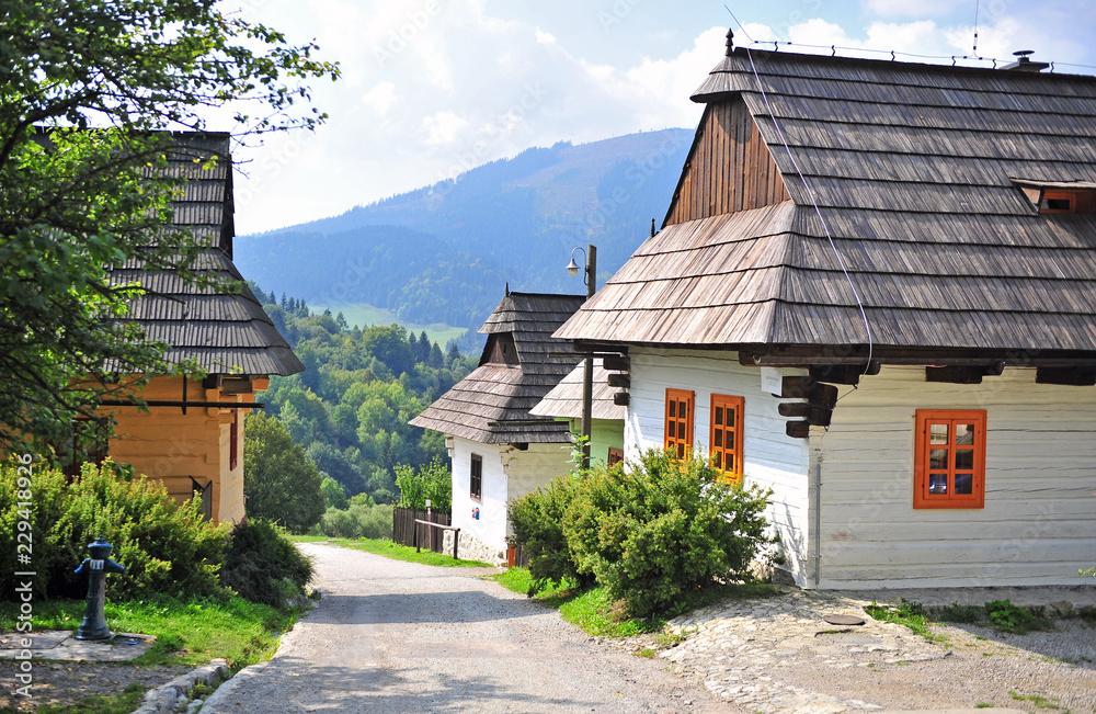 Fototapeta Beautiful rural houses of Vlkolinec traditional slovak village