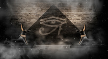 Anubis Of Ancient Egypt (God Of Death). Dark Abstract Egyptian Background, Dark Room With Smoke, Pyramid, Rays Of Light.