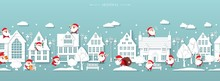 Seamless Christmas Border, Winter Street, Scandinavian Style White Paper Buildings With Funny Santa Clauses, Lanterns, Benches, Trees, Snowflakes, Snow Drifts, Winter Time, Vector Illustration