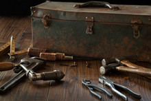 Antique Tools And Toolbox On D...