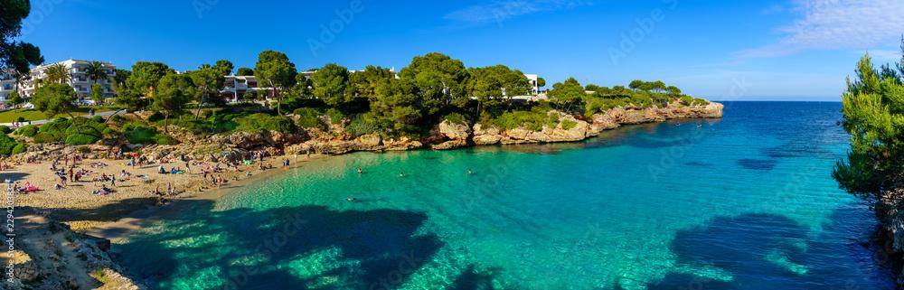 Fototapety, obrazy: Beautiful panorama of Esmeralda beach and seascape in Palma de Mallorca, Spain