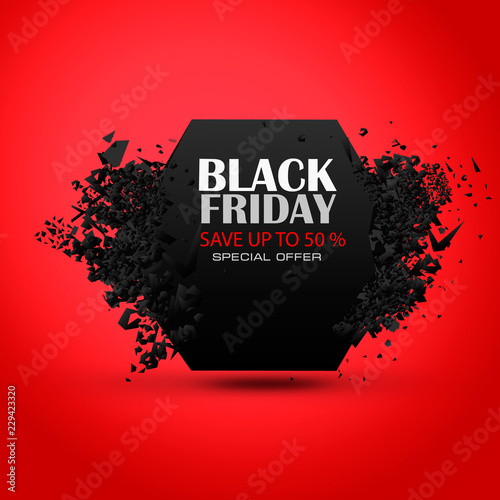 Fototapety, obrazy: Black Friday Sale Abstract Background. Vector Banner.