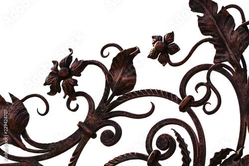 Montage in der Fensternische Schmetterlinge im Grunge wrought-iron gates, ornamental forging, forged elements close-up