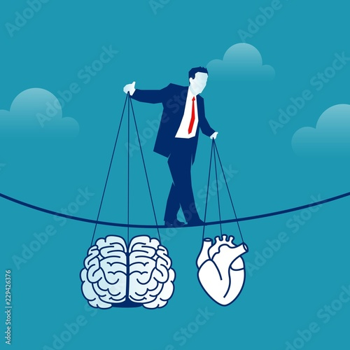 Cuadros en Lienzo Man balancing on a rope holding brain and heart in hands