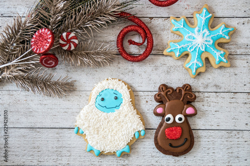 Homemade Decorated Christmas Sugar Cookies In Shapes Of A Snowflake