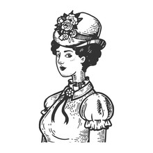 Old Fashioned Girl With Vintage Engraving Vector Illustration. Scratch Board Style Imitation. Black And White Hand Drawn Image.