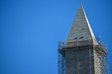 Close Up Of The Top Of The Washington Monument When It Was Under Construction