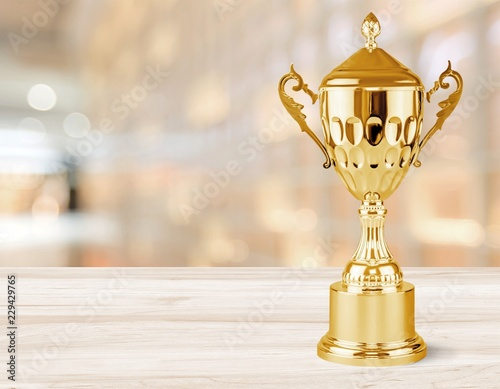 Golden trophies object on background Wall mural