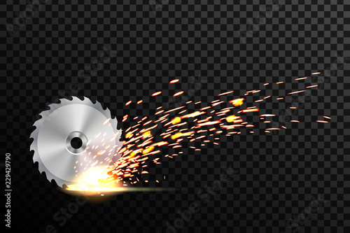 Fotografie, Obraz  Creative vector illustration of circular saw blade for wood, metal work with welding metal fire sparks isolated on transparent background