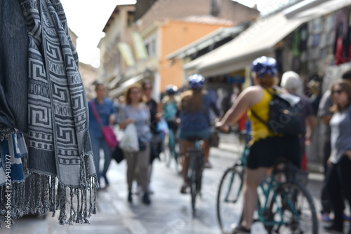Foto op Aluminium People and souvenirs on the Plaka streets Athens Greece