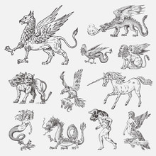 Set Of Mythological Animals. M...