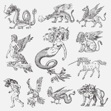 Set Of Mythological Animals. Mermaid Minotaur Unicorn Chinese Dragon Cerberus Harpy Sphinx Griffin Mythical Basilisk Roc Woman Bird. Greek Creatures. Engraved Hand Drawn Antique Old Vintage Sketch.