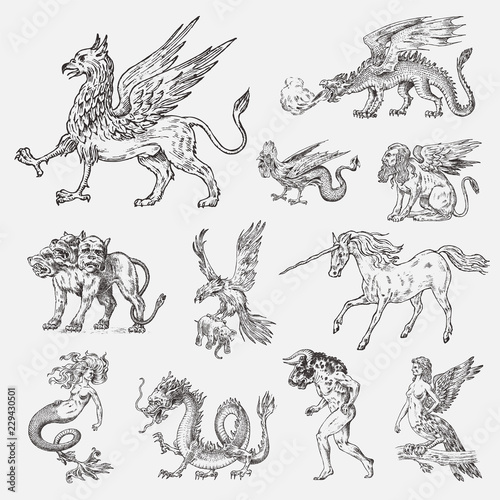 Slika na platnu Set of Mythological animals