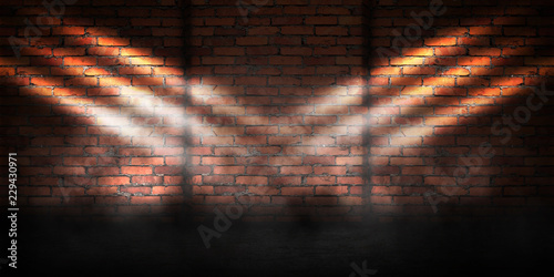 Foto auf Gartenposter Ziegelmauer Background of empty brick wall, concrete floor, neon light, searchlight rays, smoke, smog