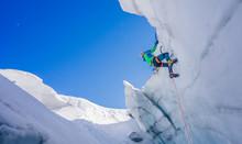 Epic Shot Of An Ice Climber Cl...