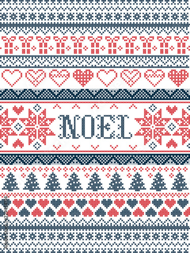 Fotografía  Vector Christmas  pattern Noel inspired by  festive, winter Nordic culture in cr
