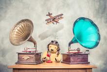 Teddy Bear With Aviator's Helm...