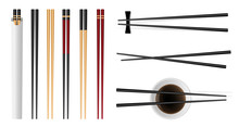 Creative Vector Illustration Of Sushi Food Chopsticks Set With Soy Sauce Isolated On Transparent Background. Art Design Traditional Asian Bamboo Utensils Template. Abstract Concept Graphic Element