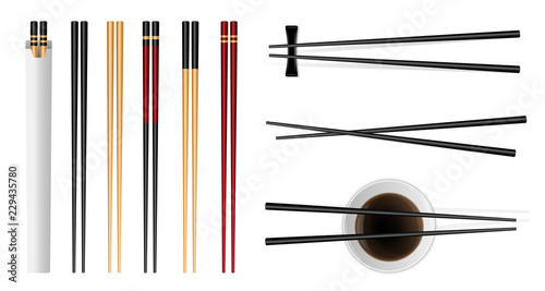 Fotografie, Obraz  Creative vector illustration of sushi food chopsticks set with soy sauce isolated on transparent background