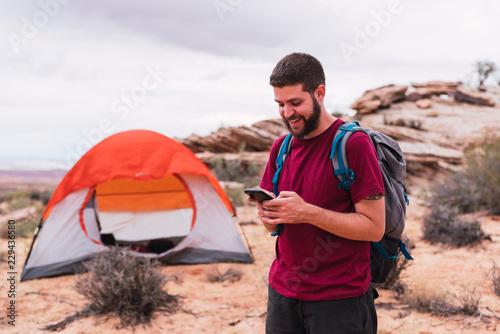 Traveler using smartphone