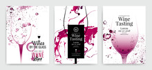 Collection Of Templates With Wine Designs. Brochures, Posters, Invitation Cards, Promotion Banners, Menus. Background Effect Wine Drops.